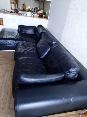 """Ekskluzywny Kler -czarny zestaw wypoczynkowy """"rogowy"""" sofa ze skóry"""