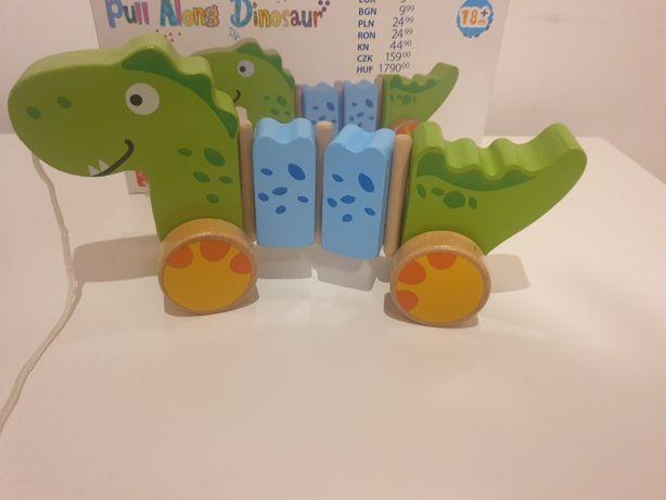 Drewniany dinozaur ciągacz