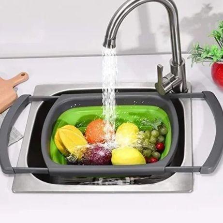 Складной дуршлаг Leach basket (W80) / Корзина в раковину для мытья фру