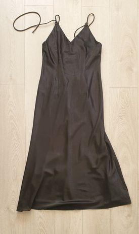 Długa wieczorowa elegancka suknia na ramiączkach czarna XL