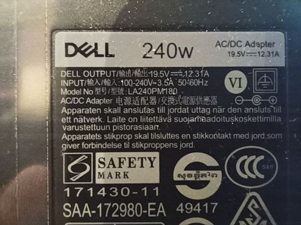 Зарядное устройство блок питания Dell 240W LA240PM180 DA240PM180