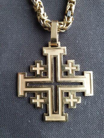 Łańcuszek + Krzyż 36,3g wykonany z złota białego i żółtego 585(14k)