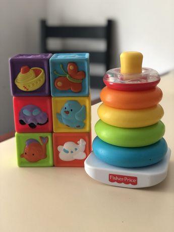 Силиконовые кубики, пирамидка fisher price, развивающие игрушки