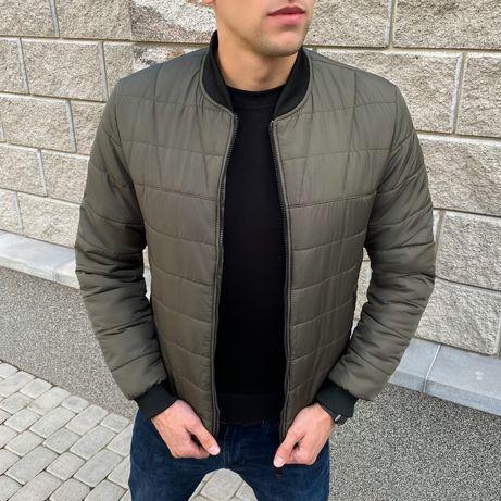 БЕСПЛАТНО доставка!Чоловіча тепла куртка бомбер стеганая подростковая