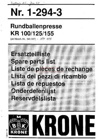 katalog części Prasa Krone KR100, 1993r