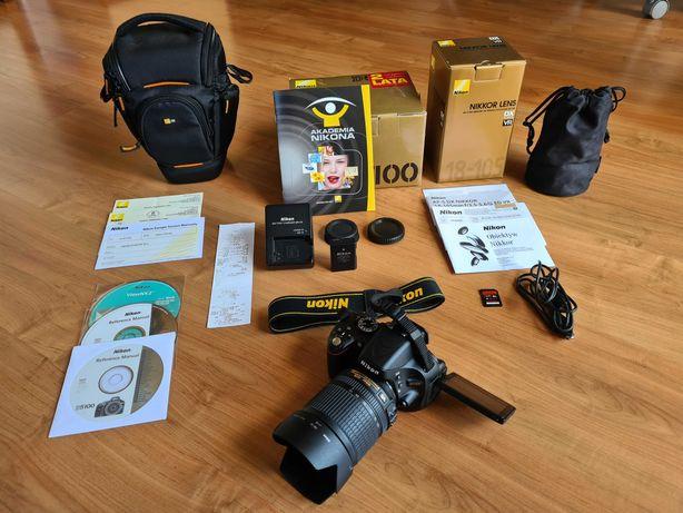 Lustrzanka Nikon D5100 + obiektyw Nikkor 18-105 mm + torba + karta