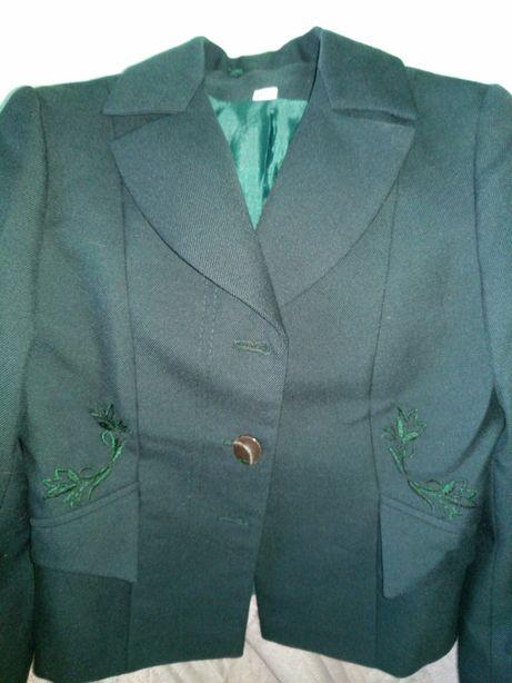Пиджак для девочки т.зеленый