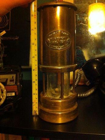 Lanterna de mineiro antiga a parafina em latão - PEÇA RARA