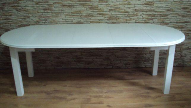 Stół okrągły biały rozkładany o śr. 100 cm + 3 x 45 cm wkładka -nowy