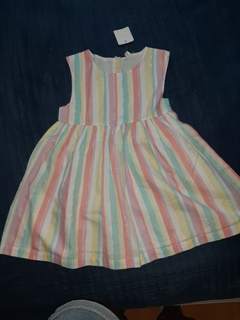 Sukienka letnia w paski pastelowa r. 92