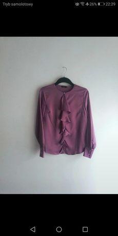 Bluzka fioletowa liliowa satynowa falbanki nowa bez metek