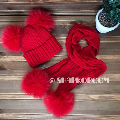 Набор шапка и шарф с натуральными бубонами песца зимний 2 бубона