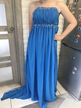Платье со шлейфом/на фотосессию/выпускной/синее/голубое!