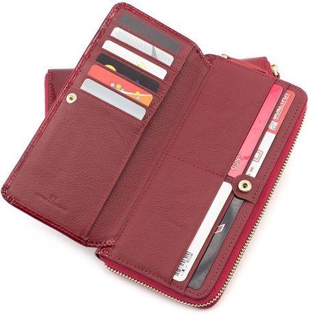 кожаный женский кошелек на молнии с блоком под карточки H и ST турция.