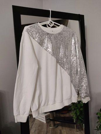 Świetna biała bluza Shein cekiny M/L