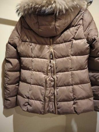 Beżowa elegancka kurtka  zimowa pikowana Attentif rozm.36