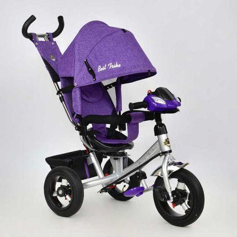 Трехколесный велосипед коляска, с родительской ручкой, надувные колёса