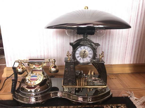 Настольный набор Часы, телефон, лампа