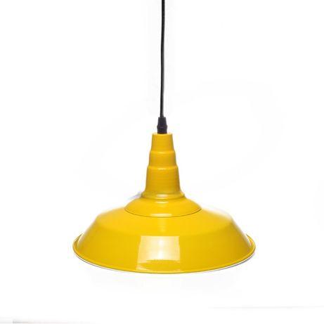 Żółta lampa wisząca 26cm e27 metalowa loft industrialna