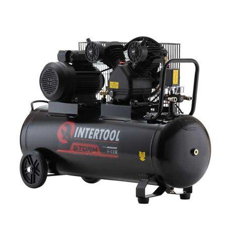 Компрессор 100л, 3кВт, 10атм, 500л/мин, 2-х цилиндр. INTERTOOL PT-0014