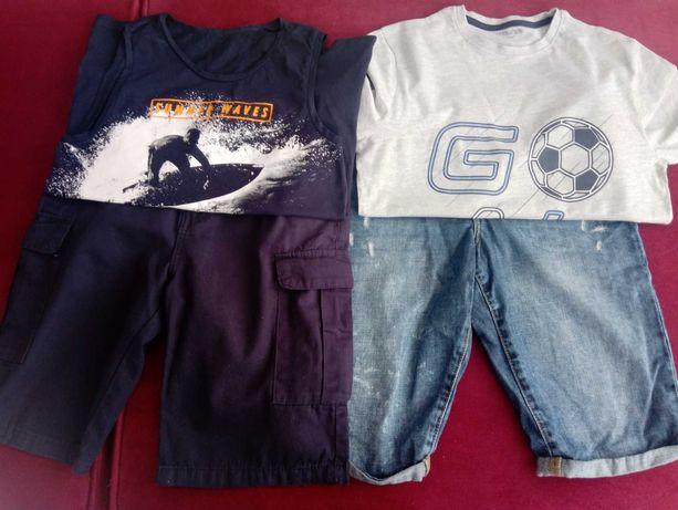 Komplet 2 szt spodni typu Bermudy + koszulki