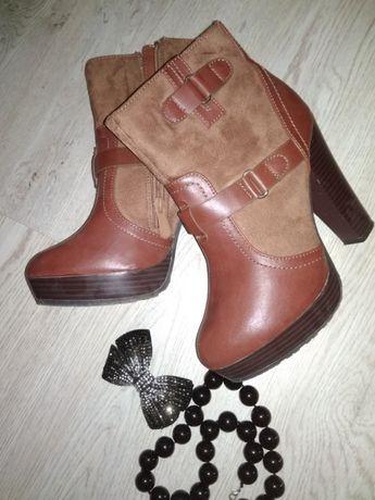 Ботинки, ботильоны, коричневые 39 размер, 25 см по стельке кожа, замша