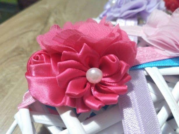 Opaska dziewczęca Kwiaty Kwiatki Cyrkonie 6 kolorów tu różowy