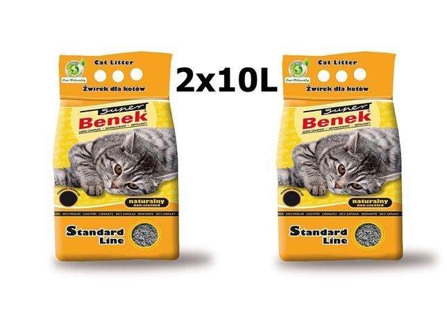SUPER BENEK Naturalny 2x 10l żwirek dla kota
