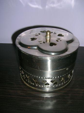 Posrebrzana szkatułka piękna okrągła zamykana!!!