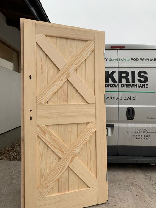 DRZWI Zewnętrzne drewniane Ocieplane sosnowe 7 cm CAŁA POLSKA
