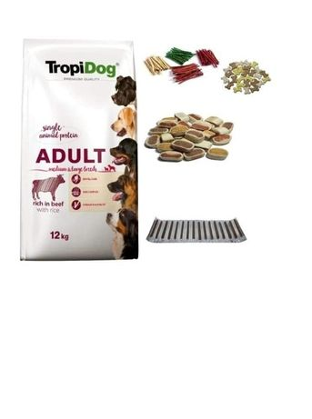 TropiDog Beef&Rice M&L Adult 12kg +GRATIS