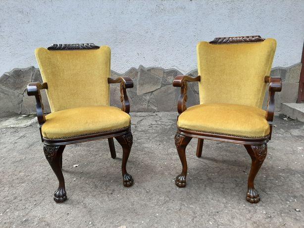 Крісла антикварні деревяні з оббивкою 2шт. Стулья