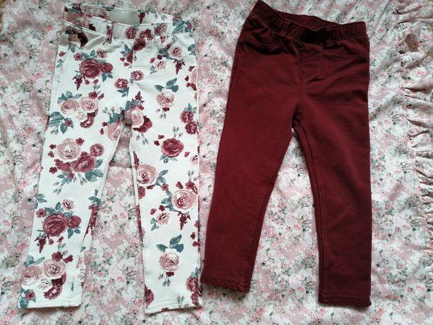 H&M piękne spodnie legginsy leginsy legi bordo kwiaty 92