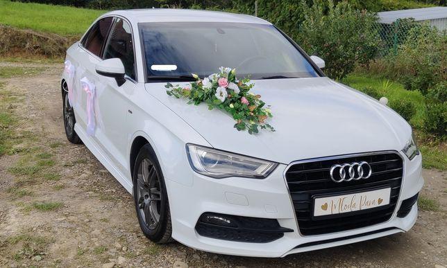 Dekoracja samochodu na ślub, ozdoba, kwiaty