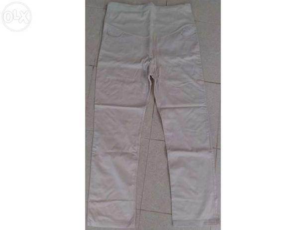 Calças de grávida – just mulher – 44 – algodão – branco / beje