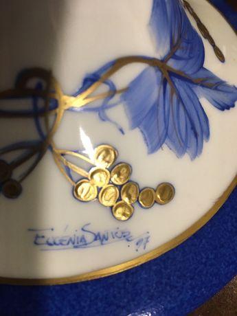 Castiçais porcelana e prata