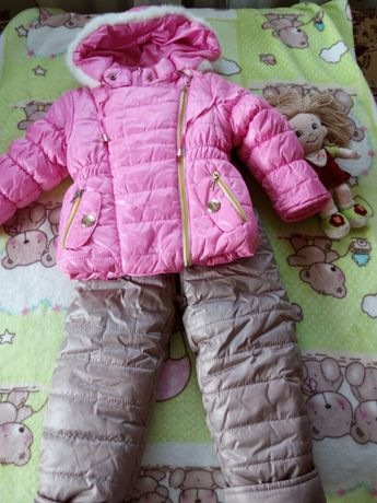 Детский зимний комплект куртка+полукомбинезон Деньчик