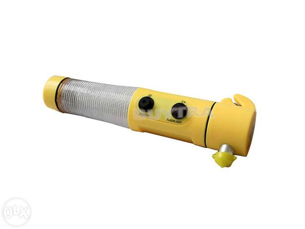 Lanterna multifunções led + martelo segurança + cortador de cinto