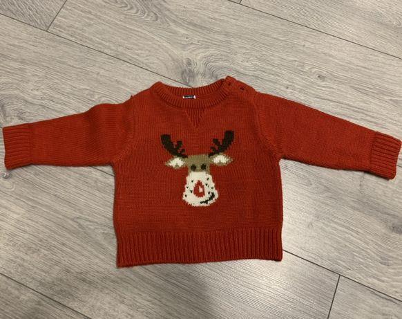 Детский новогодний свитер с оленем 3-6 месяцев