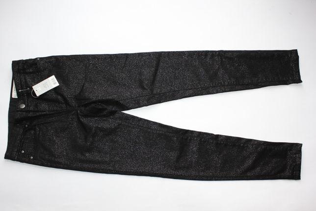Esmara spodnie damskie skinny czarne błyszczące 36