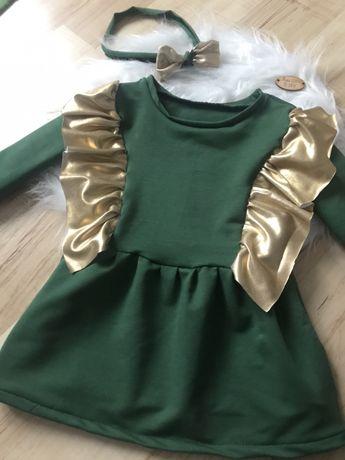 Piękna sukienka newborn handmade butelkowa zieeń 56-62