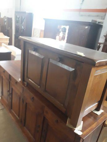 Piękny kufer szafka ciemny drewniany dębowy masywny DOWÓZ