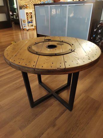 Stolik kawowy industrialny z drewnianej szpuli loft