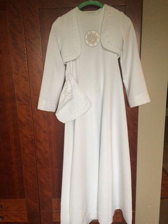 Sukienka komunijna i bolerko, wianuszek