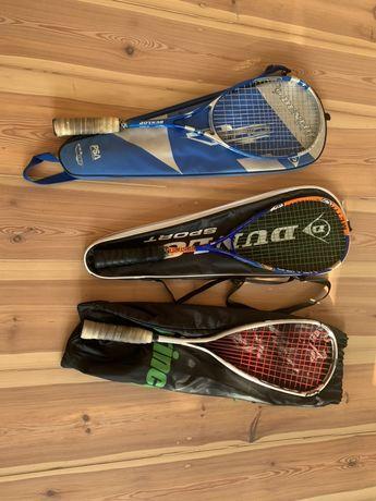 Dwie rakiety do squasha Prince, Dunlop, Oliver