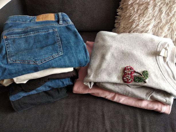 Ubrania ciążowe H&M Mama (dżinsy jak nowe), mega paka L 42 44 46