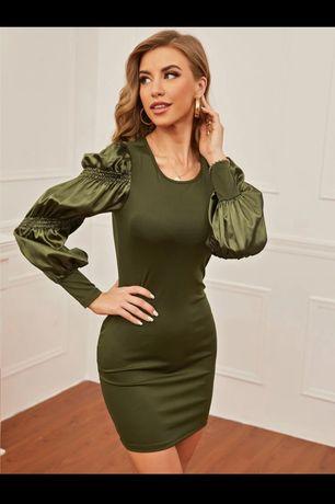Sweterkowa sukienka zielona khaki bufiaste rękawy S M