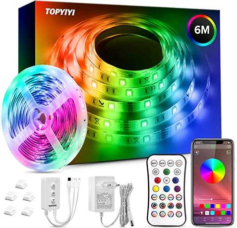 Fita 6, 12, 15, 18 ou 20 metros LED RGB controlo smartphone Bluetooth