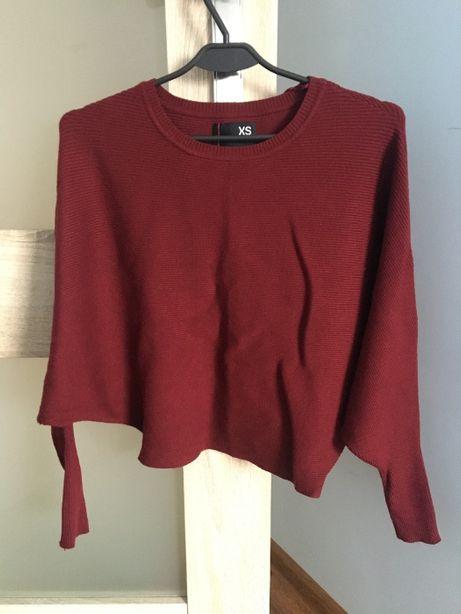 Bordowy/ciemnoczerwony sweterek oversize - r. XS - NOWY