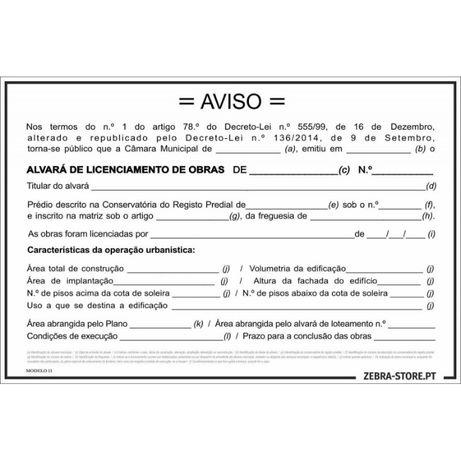 Placa Licenciamento de Obras 1200X800mm PVC alveolar esp 3.5mm